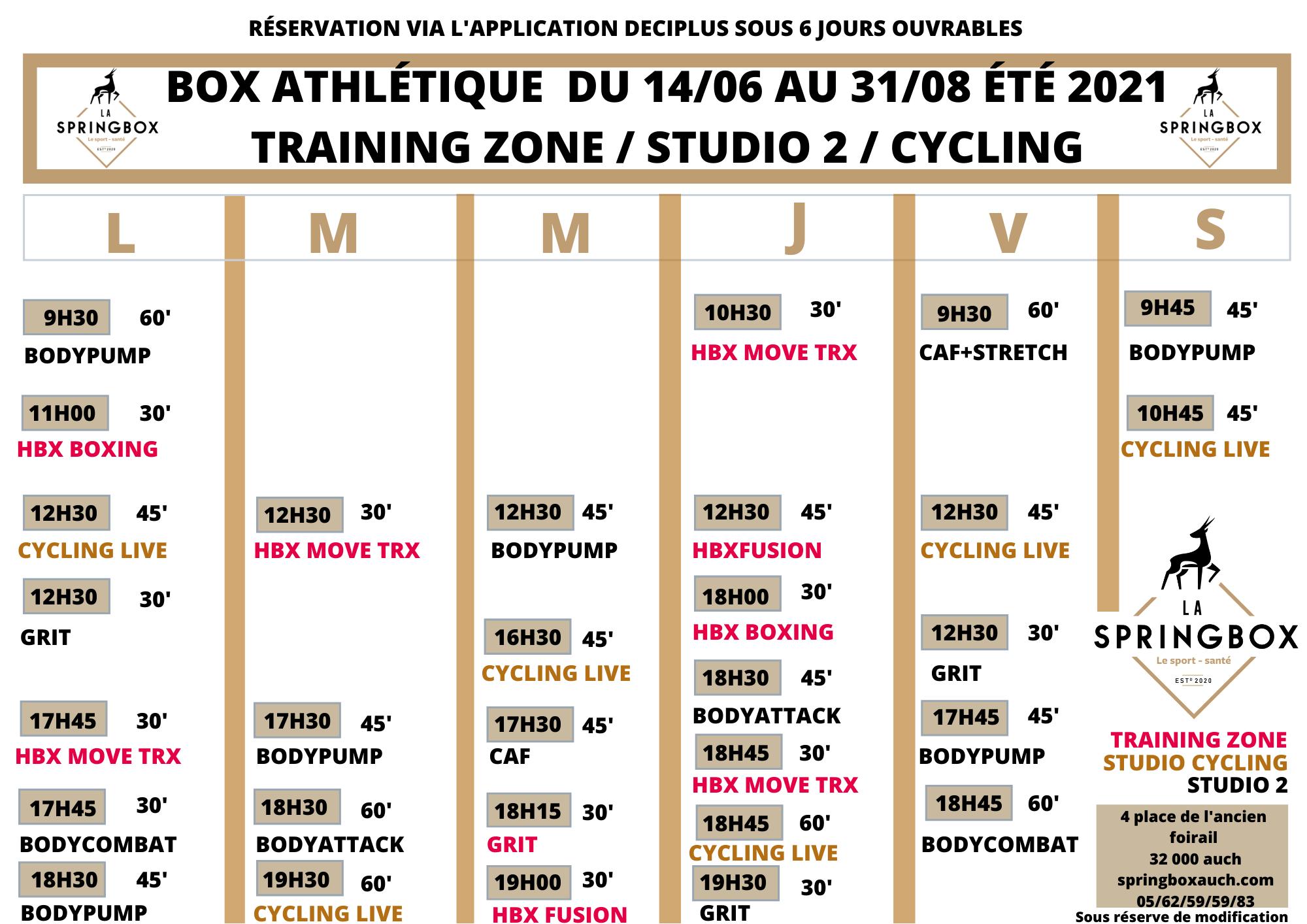 Springbox club sport musculation auch Planning